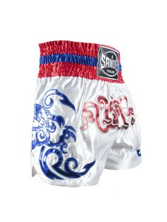 Sandee Respect Thai Shorts - White Blue Red & Grey - All Ages Fight Shorts, Boxing Fight, Polyester Satin, Red And Grey, Muay Thai, Respect, White Shorts, Stylish, Swimwear