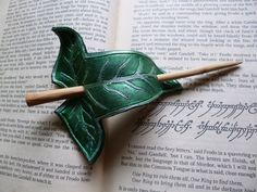 Fellowship/ Lorien Leaf Leather Hair Barrette by ~emma-hobbit