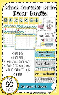 School Counselor Office Decor Bundle! Enjoy over 60 pages of office decor including: banners, posters, confidentiality signs, door signs, hall passes and more! www.tracirbrown.com