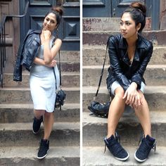 Topshop Bike Jacket, Wilfred Free Dress, Nike Dunk Sky Hi