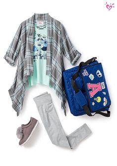 Flannel + leggings = so comfy!