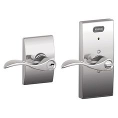 Schlage FE51 ACC 625 CEN Built-in Alarm, Century Collection Accent Keyed Entry Lever Door Lock, Bright Chrome Schlage Lock Company