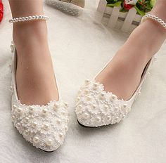 White lace Wedding shoes pearls ankle trap Bridal flats low high heels size 5-12   Clothing, Shoes & Accessories, Wedding & Formal Occasion, Bridal Shoes   eBay!