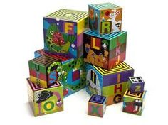 Melissa & Doug ABC Nesting and Stacking Blocks. Brightly coloured cardboard blocks illustrating both objects and letters of the alphabet.  Suitable for ages 2+