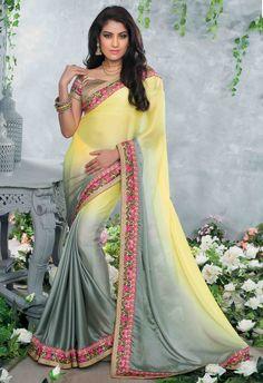 USD 51.33 Yellow Chiffon Satin Party Wear Saree 48289