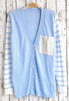 Add some eyelet material or lace as your pocket on a cardigan! Super cute :) Light Blue Lace Pocket Single Breasted Sweater