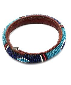 Africa | Leather and glass bead bracelet from Lagos, Nigeria | 1st half of the 20th century
