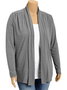 #2. Old Navy | Women's Plus Open-Front Jersey Cardis: black, gray, navy blue