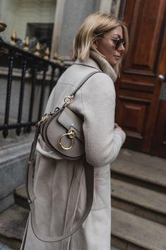 2c3fe91dbb4 Emma Hill wears Chloe Tess bag in Motty Grey, cream winter coat, chic style