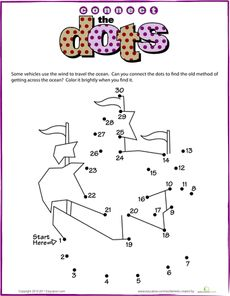 Pirate Ship dot to dot printable  education.com