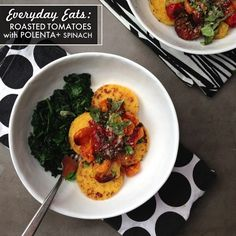 EVERYDAY EATS: Roasted Tomatoes with Polenta & Spinach // shutter bean