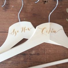 """""""Personalised hangers for the bride and groom for their special day! Love working with @themakelab on projects like these!  This is for a lovely couple getting hitched in October! Can't wait to be part of that!  #wedding"""""""
