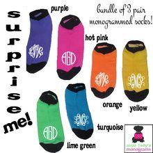 Monogrammed Low Rise Socks - Surprise Me Bundle of 3 Pair - Bright Solids!