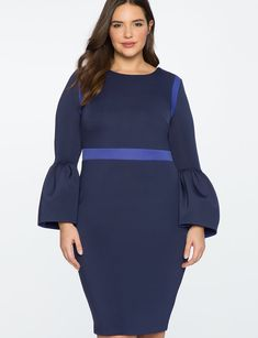 Flounce Sleeve Colorblocked Dress from ELOQUII. Plus size fashion that fits like a dream.