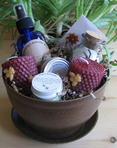 Organic Bath and Body Gift Basket 'planted' in a by NewRefugia
