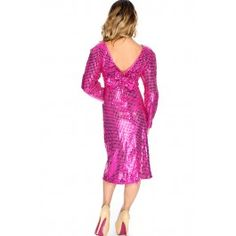 Sexy Fuchsia Sequins Bow Accent Long Sleeve Party Dress