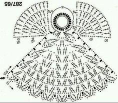 Angel to crochet pattern included ~ lodijoella Crochet Christmas Ornaments, Christmas Crochet Patterns, Holiday Crochet, Crochet Snowflakes, Crochet Home, Christmas Angels, Diy Crochet, Christmas Toys, Crochet Angel Pattern