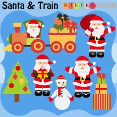 7 graphic elements of Santa and Train. Perfect for your craft project, scrapbooking, invitation, web design, paper product, design card and everything else.