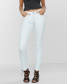 aed9291eb779f mid rise frayed tier hem stretch+performance ankle jean leggings.  Pinterest: pearlxoxoxo | Strip | Ankle jeans, Jeggings, Leggings