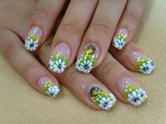 Green Yellow gradient French tips with free hand black & white small flowers  floral nail art