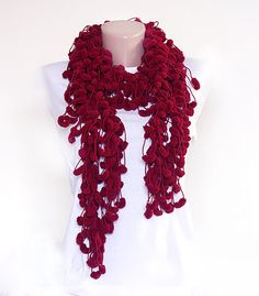 Crocheted long scarf - burgundy