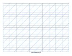This Calligraphy Practice Paper-Landscape features blue guidelines forming rectangles 1-inch wide and 1/3-inch tall with high angle vertical guidelines on letter-sized paper in landscape orientation. Free to download and print