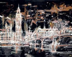 Parliament View by Paul Kenton - 2 I like this original style of art. It makes a well known and quite a uniform piece of architecture look more abstract. Urban Landscape, Abstract Landscape, Landscape Design, Nocturne, Paul Kenton, Big Ben, A Level Art Sketchbook, Art Alevel, Building Art