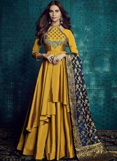 VJV Fashions presenting Wonderful Gold Color Silk Designer Anarkali Suit shop from our biggest collection of designer salwar suit, party wear salwar suit Indian Gowns, Indian Wear, Indian Outfits, Indian Attire, Abaya Fashion, Indian Fashion, Fashion Dresses, Women's Fashion, Fashion Trends