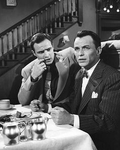 Marlon Brando and Frank Sinatra in Guys and Dolls, 1955.
