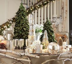 Natural Christmas tablescape...LOVE the birch twigs encircling the table edge (via P.B.)