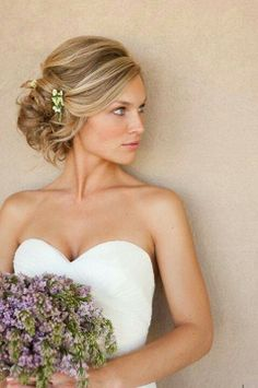 Gorgeous wedding hair. Loose bridal updo. Weddings and Events of Australia (WEOA)