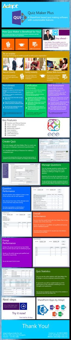 """QUIZ MAKER PLUS, a software application designed to manage Online Tests and Quizzes.http://www.adapt-india.com/QuizMakerPlus.aspx"