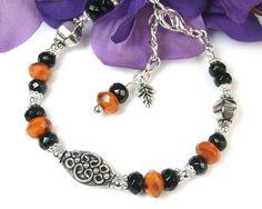 Halloween Bracelet Black Orange Glass Adjustable by PrettyGonzo