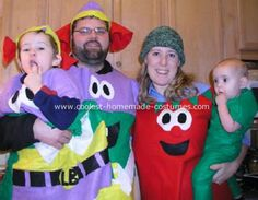 Homemade Veggie Tales Family Costumes - Larryboy, Bob and Pea: My Son is a HUGE fan of Larryboy and decided that the whole family needed to dress up for Halloween as Veggie tale characters. Daddy and son are Larryboy,