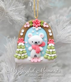Handcrafted Polymer Clay Winter Polar Bear Scene Ornament