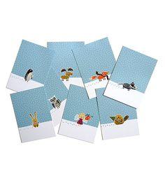"""Postkarten """"Winter"""" (8 Stück). Auf jeder Karte befindet sich ein Tier oder Engerl das durch den Schnee läuft und so eine hübsche Spur hinterlässt. Jede Figur hat oder macht etwas Besonderes: der Pinguin isst ein Eis, der Fuchs trägt einen Schal, die Eule hält ein Buch unter dem Arm ...  8 Postkarten + eine Cover-Karte - Erhältlich bei: http://shop.hokohoko.com"""