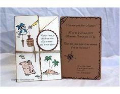 Faire-part de naissance sur le thème des pirates, avec l'annonce par la fratrie. Fait main. http://www.zebopix.com