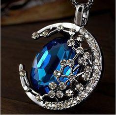 Amazon.com: Easygoby Trendy Sailor Style Pretty Moon Blue Gem Pendant Necklace: Jewelry