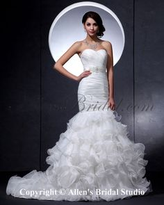 Satin Sweetheart Court Train Mermaid Wedding Dress with Ruffle at AllensBridal.com $211.23 - http://www.allensbridal.com/mermaid-trumpet-wedding-dresses/satin-sweetheart-court-train-mermaid-wedding-dress-with-ruffle-1597.html