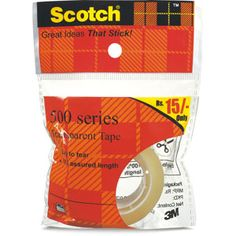 Clear Tape — Scotch Transparent Tape is the classic, glossy finish tape. A great value for general purpose wrapping, sealing and mending. Clear when applied and does not yellow.