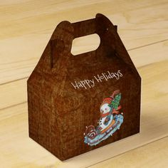 Rustic Snowman on Sled Christmas Gable Favor Box - rustic style country natural diy customize personalize