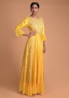 Sun Yellow Anarkali Dress With Embroidered Bodice And Weaved Panels Online - Kalki Fashion Anarkali Gown, French Knots, Yellow Fabric, Cotton Silk, Hemline, Bodice, Sequins, Fancy, Gowns