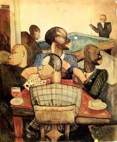 """Palmer Hayden """"Nous Quatre a Paris"""" 1935 oil on canvas African American Culture, African American Artist, American Artists, African Art, Harlem Renaissance Artists, Renaissance Kunst, Renaissance Artworks, Collages, Art Deco"""