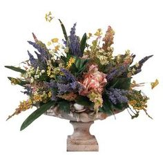 Silk pink heather and hydrangea arrangement in a footed planter.  Product: Faux floral arrangementConstruction Material: SilkColor: Purple, pink, green, yellow and whiteFeatures: Includes faux heather and hydrangeasDimensions: 16 H x 18 Diameter Note: For indoor use only