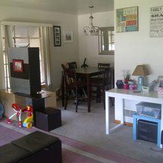 Room divider I built and desk area