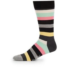Happy Socks Multistriped Cotton-Blend Socks ($5.49) ❤ liked on Polyvore featuring men's fashion, men's clothing, men's socks, mens striped socks and mens socks