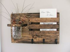 Mail Holder and Jar Mail Organizer Rustic Organizer by Rustastic