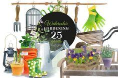 Watercolor gardening by Tatiana_davidova on @creativemarket