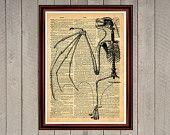 Bat skeleton print Rustic decor Cabin Vintage Retro poster Dictionary page Home interior Wall 0004