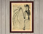 Bat skeleton print Rustic decor Cabin Vintage Retro poster Dictionary page Home interior Wall 0004
